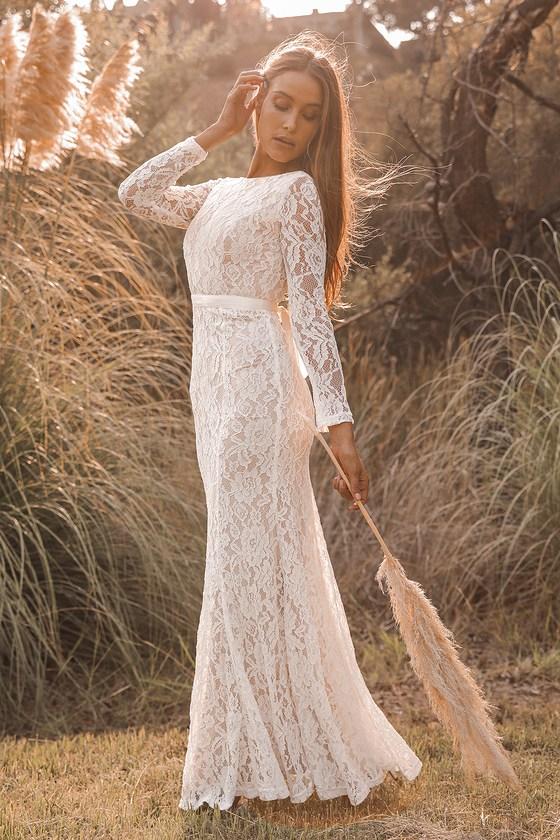 1900 -1910s Edwardian Fashion, Clothing & Costumes Youre My Forever White Lace Long Sleeve Maxi Dress  Lulus $115.00 AT vintagedancer.com