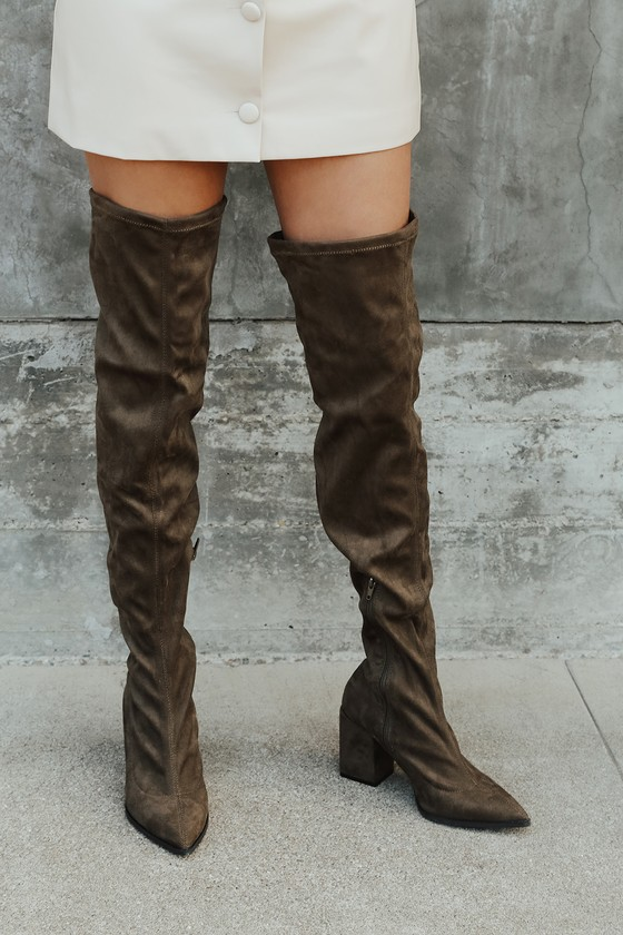 Chic Olive Green Suede Boots - Over The