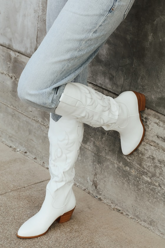 1980s Clothing, Fashion | 80s Style Clothes Urson White Pointed-Toe Knee High High Heel Boots  Lulus $115.00 AT vintagedancer.com