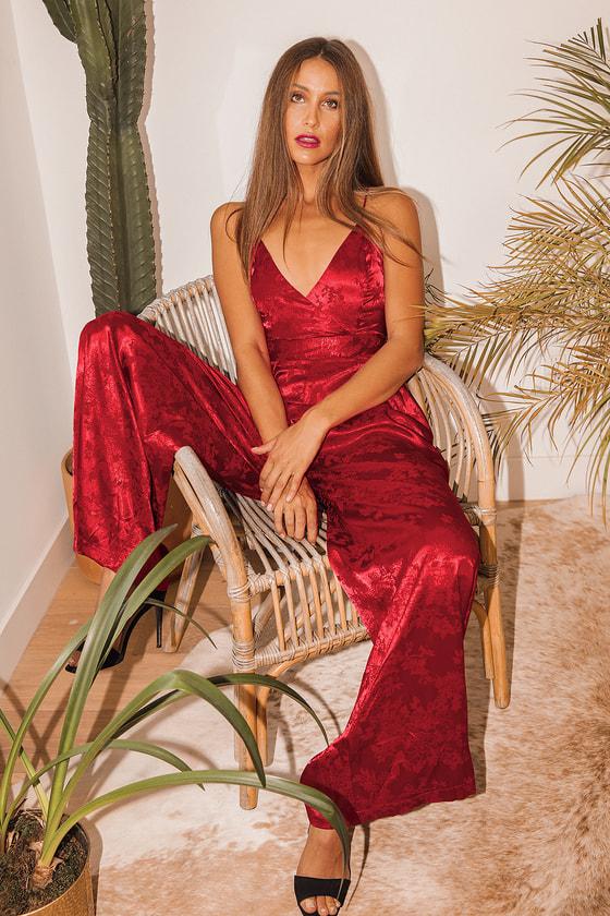 70s Jumpsuit | Disco Jumpsuits, Sequin Rompers Darling Details Wine Red Satin Floral Jacquard Wide-Leg Jumpsuit  Lulus $78.00 AT vintagedancer.com