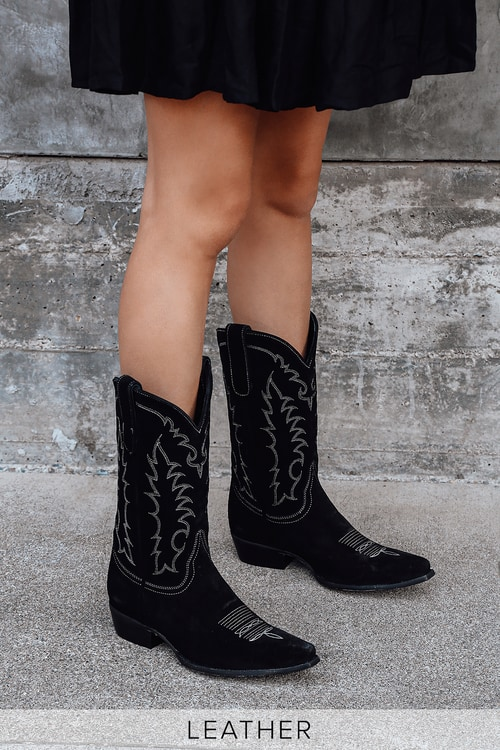 Tino Black Suede Leather Pointed-Toe Knee High Cowboy Boots