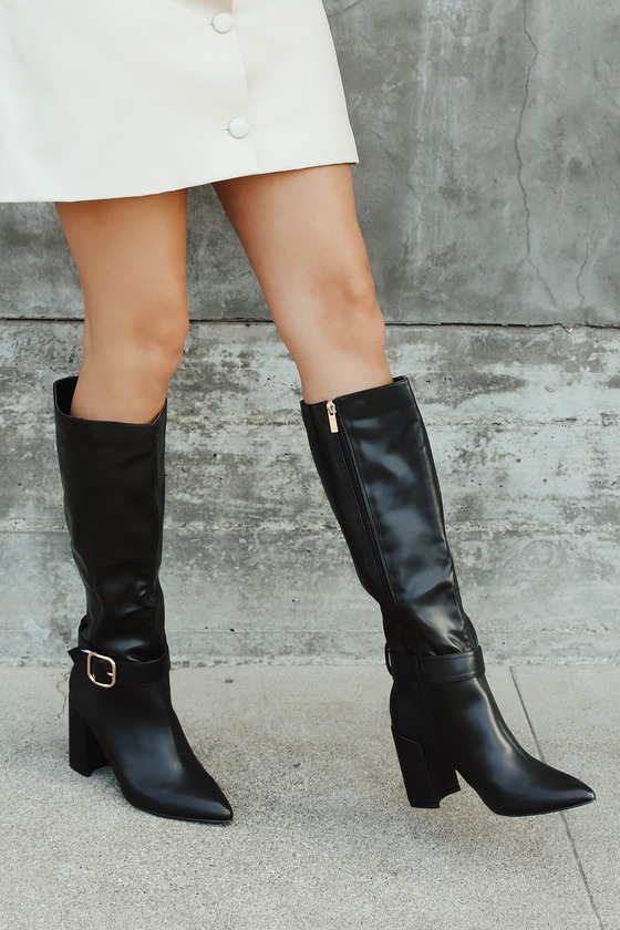 Black Faux Leather Boots - Knee High