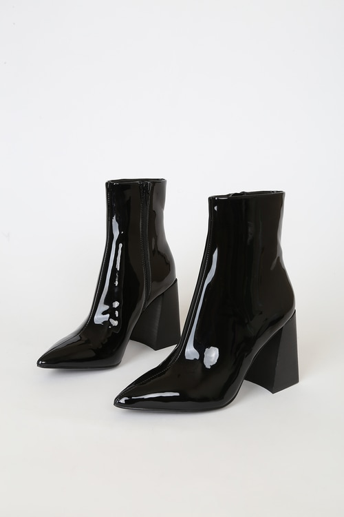 Steve Madden Envied Black Patent Pointed-Toe Mid-Calf Boots