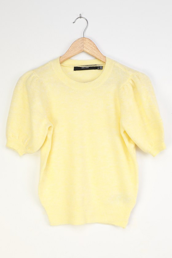 1940s Sweater Styles Le Fille Light Yellow Puff Sleeve Sweater  Lulus $29.00 AT vintagedancer.com