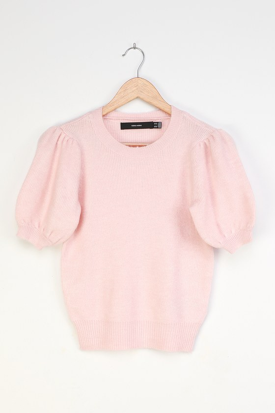 Le Fille Light Pink Puff Sleeve Sweater