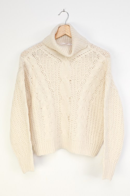 RD Style Only Love Ivory Cable Knit Cowl Neck Sweater