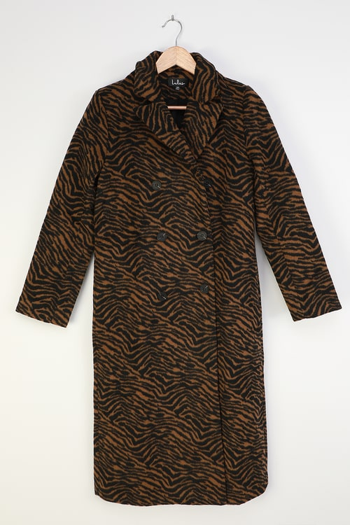 Keep Things Chic Tan Tiger Print Double Breasted Coat