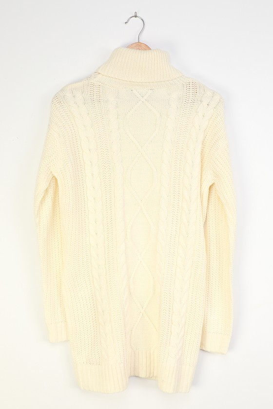 Crisp Mornings Off White Cable Knit Turtleneck Sweater Dress