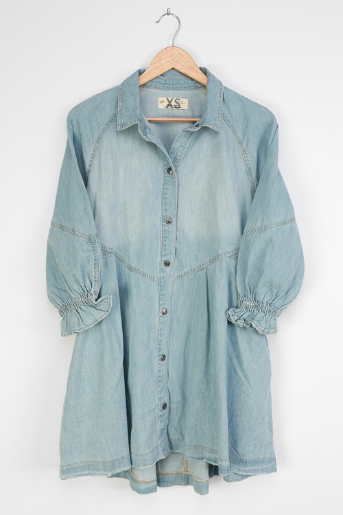 Free People Hannah Light Wash Denim Long Sleeve Button-Front Mini Dress