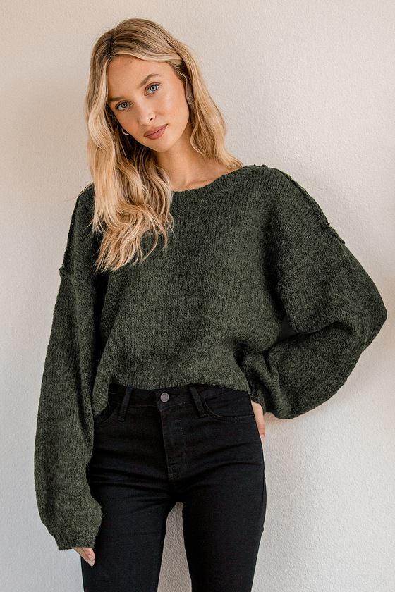 Forest Green thin sweater knit top knot