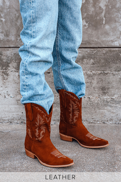 Eastwood Cognac Suede Leather Pointed-Toe Mid-Calf Cowboy Boots