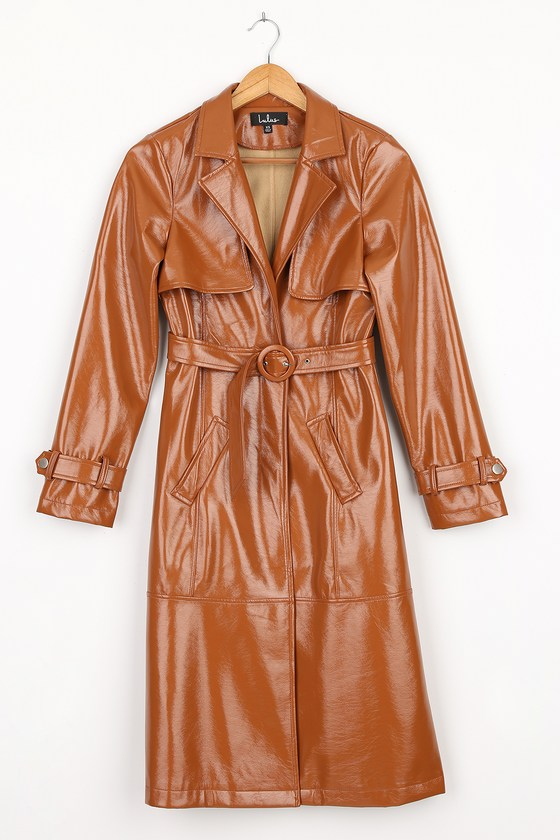 New Vintage Style Coats & Jackets – 30s, 40s, 50s, 60s Weather Forecast Camel Patent Vegan Leather Belted Trench Coat  Lulus $98.00 AT vintagedancer.com
