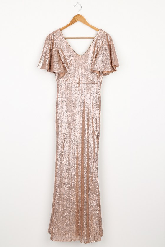 1930s Style Clothing and Fashion Dazzled Dream Matte Rose Gold Sequin Flutter Sleeve Maxi Dress  Lulus $95.00 AT vintagedancer.com