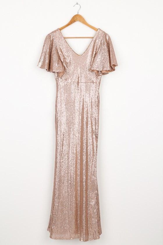 70s Dresses – Disco Dress, Hippie Dress, Wrap Dress Dazzled Dream Matte Rose Gold Sequin Flutter Sleeve Maxi Dress  Lulus $95.00 AT vintagedancer.com
