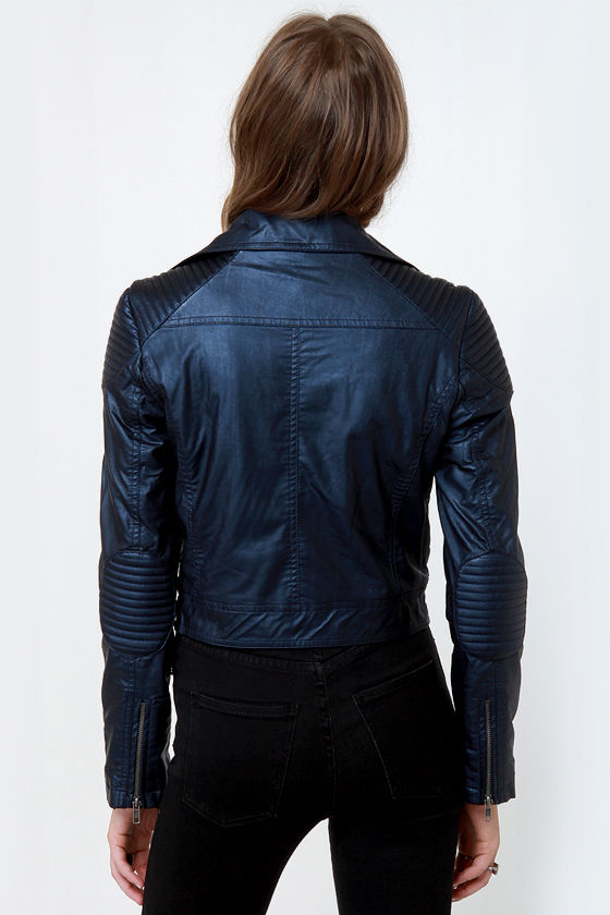 Motel Courtney Navy Blue Vegan Leather Moto Jacket at Lulus.com!