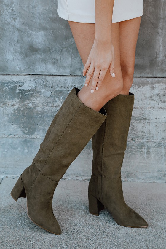 Cute Green Suede Boots - Faux Leather