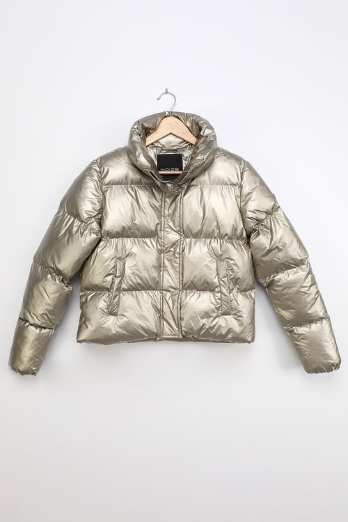 Noize Coco-M Gold Metallic Quilted Cropped Puffer Jacket