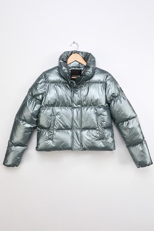 Noize Coco-M Blue Metallic Quilted Cropped Puffer Jacket