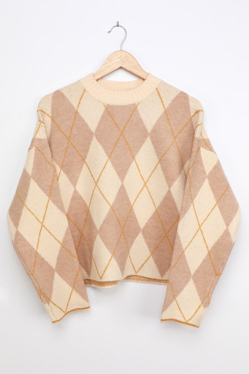 Collegiate Cutie Ivory Multi Argyle Sweater