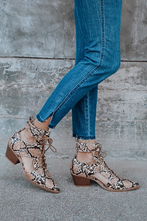 Vincent Tan Snake Print Cutout Lace-Up Ankle Booties