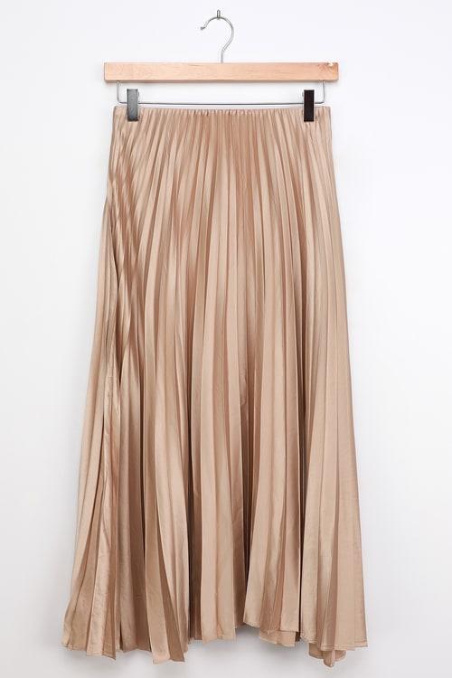 LUSH Pleat and Greet Champagne Pleated Satin Midi Skirt