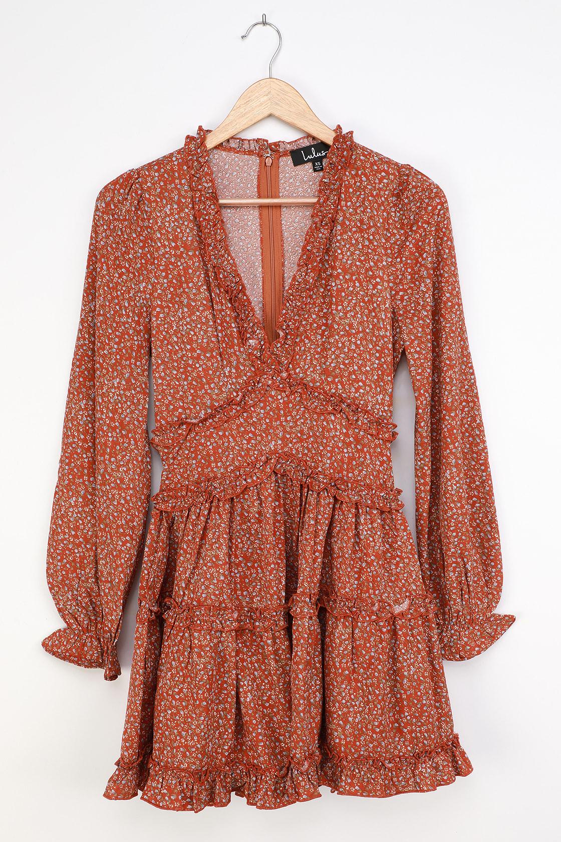 Admire You Orange Floral Print Ruffled Long Sleeve Mini Dress