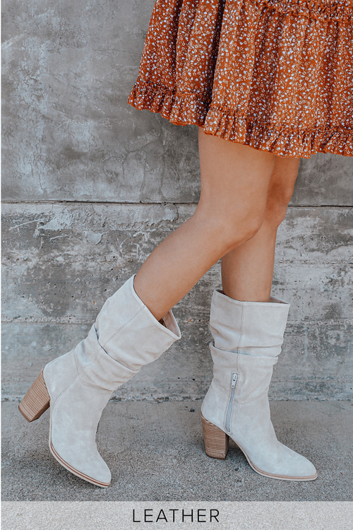 Crevo Footwear anuary Beige Suede Leather Pointed-Toe Mid-Calf Boots