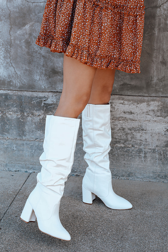 Vintage Boots- Winter Rain and Snow Boots Cheriton White Pointed-Toe Knee High High Heel Boots  Lulus $51.00 AT vintagedancer.com