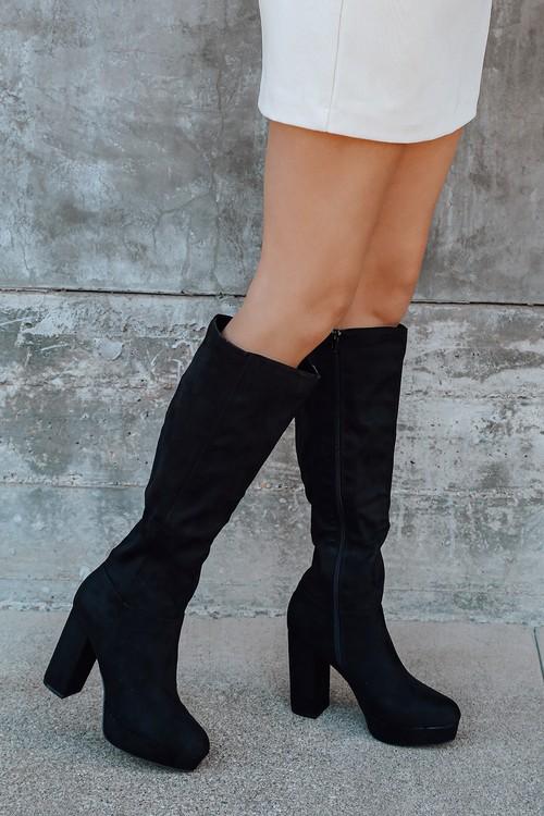 Layyney Black Suede Platform Knee High Boots