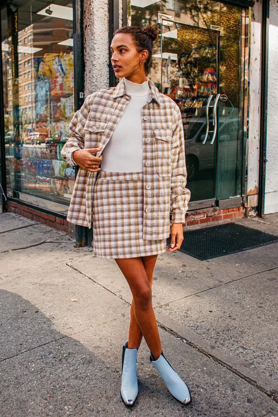 Mad for Plaid Cream Plaid Mini Skirt