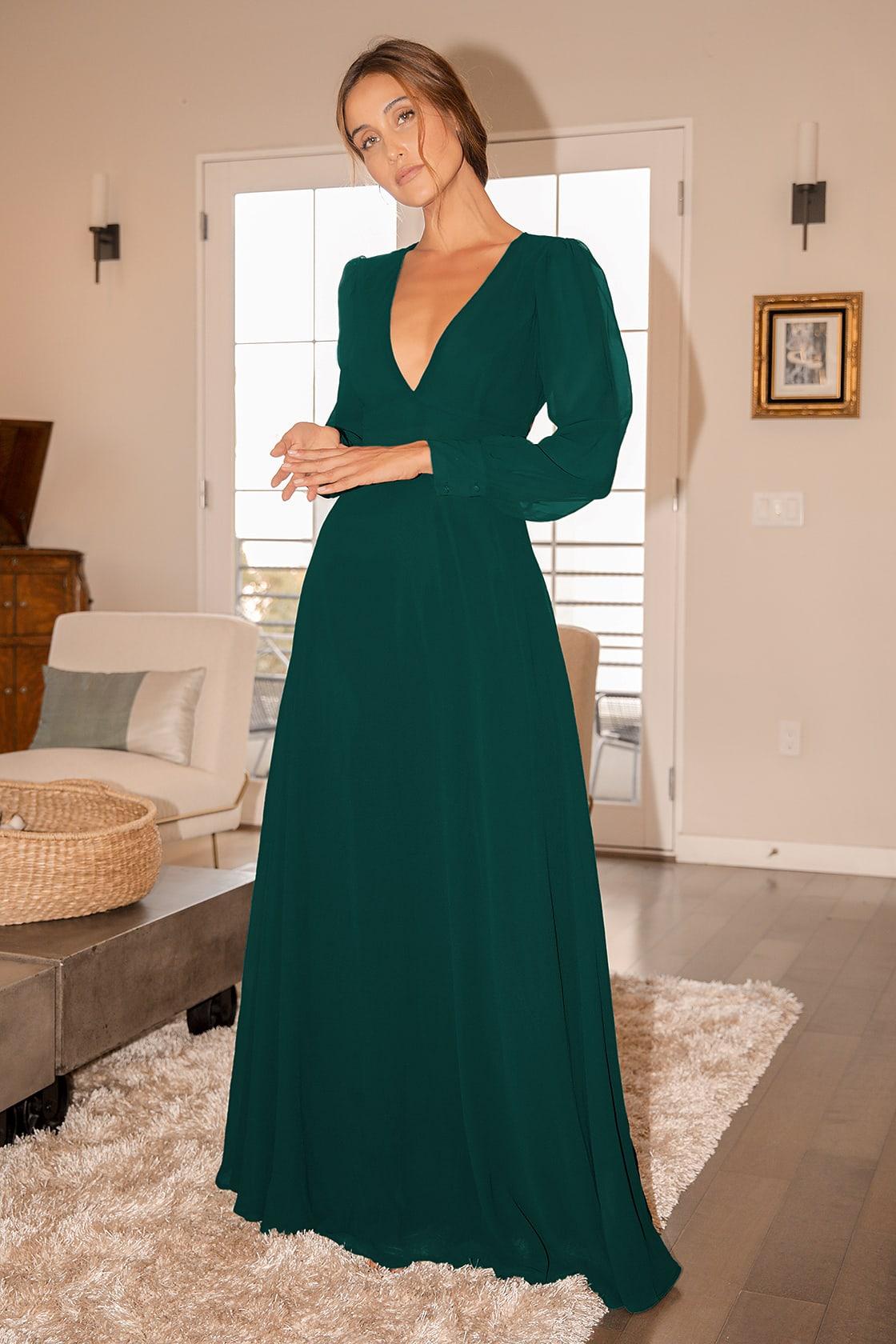 Talk About Divine Hunter Green Long Sleeve Backless Maxi Dress