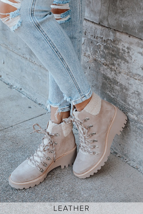 Dolce Vita Hanley Almond Suede Leather Ankle Boots