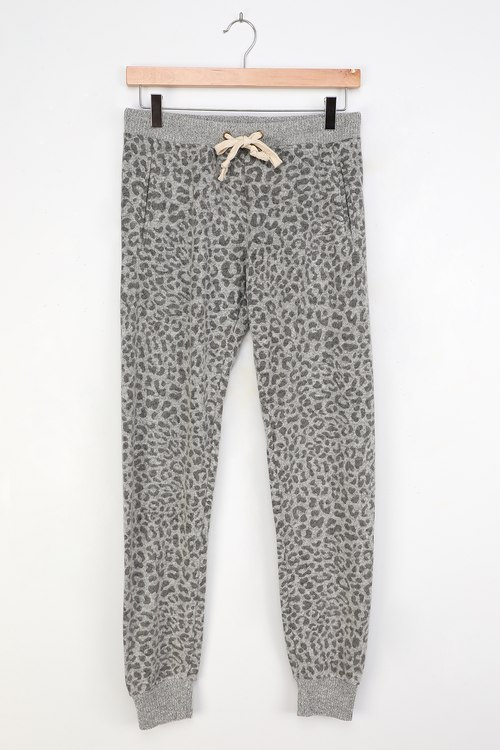 Yummy Grey Leopard Print Brushed Knit Joggers