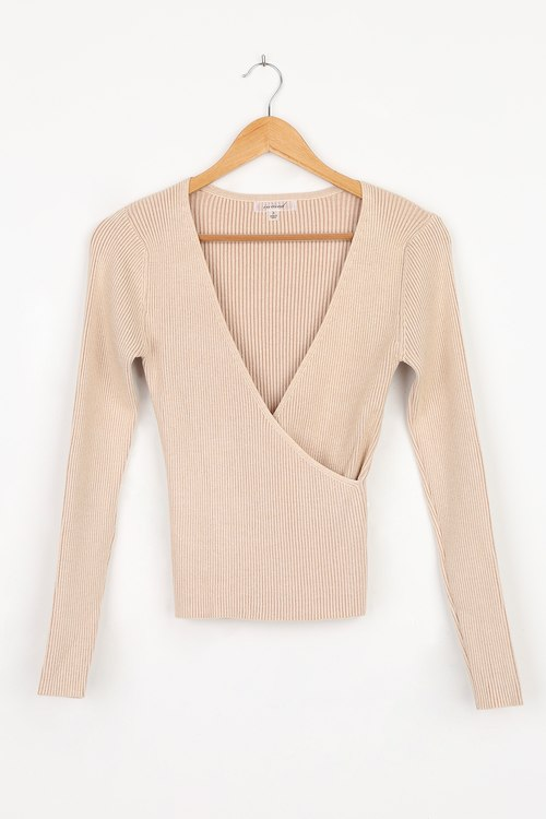 Thanks to You Beige Ribbed Surplice Sweater Top