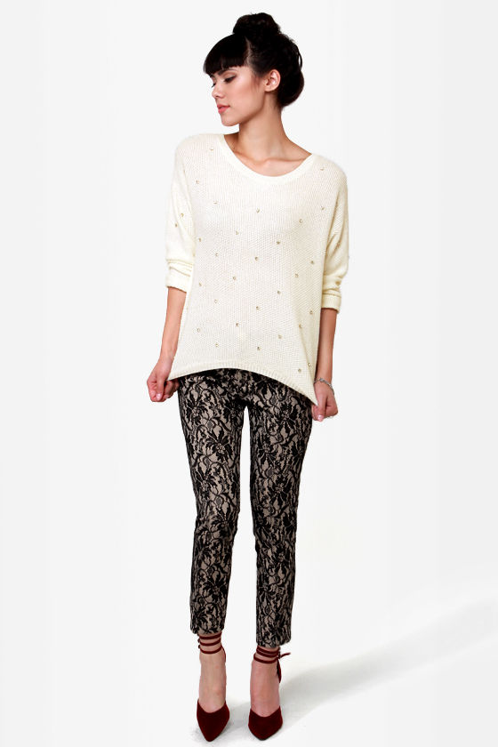 Written in Rhinestone Ivory Sweater at Lulus.com!
