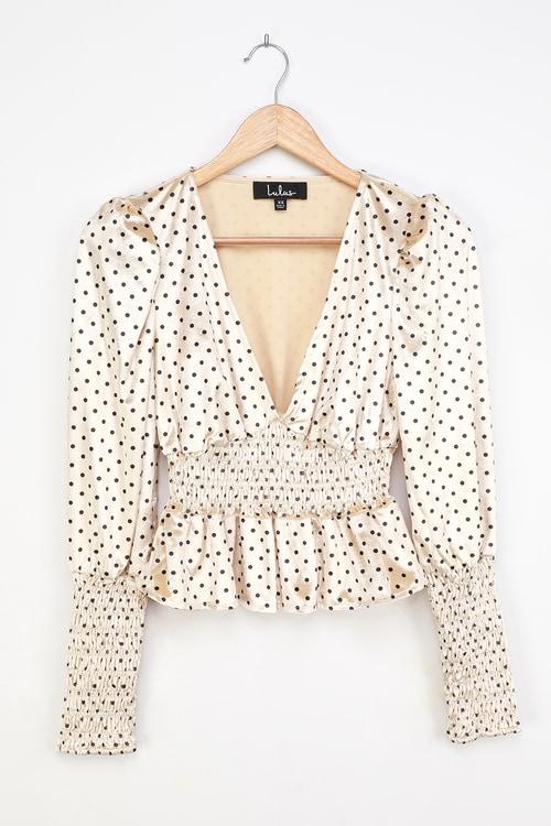 Chic Upgrade Cream Polka Dot Velvet Smocked Long Sleeve Top