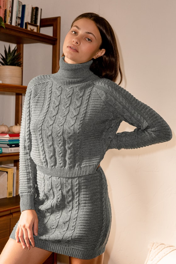 In the Cards Grey Cable Knit Two-Piece Sweater Dress