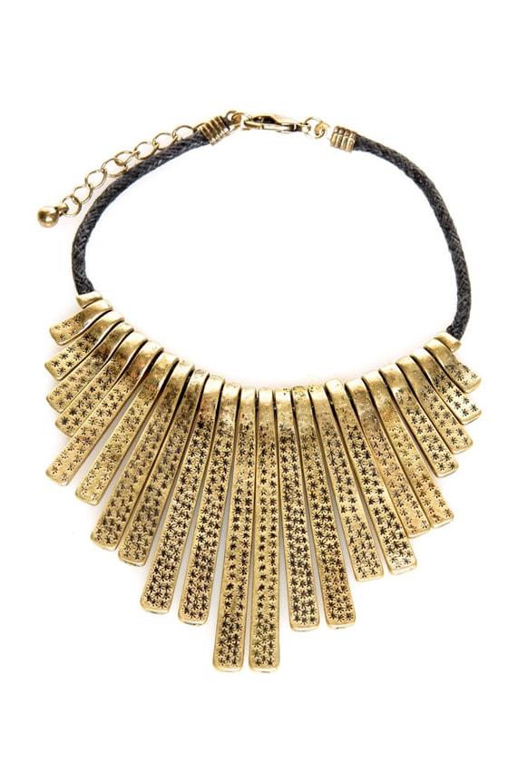 Fan-Dangle Gold Stamped Metal Bracelet