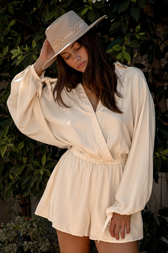 Vintage Summer Clothes, Beach Outfits Every Days an Adventure Beige Long Sleeve Romper  Lulus $65.00 AT vintagedancer.com