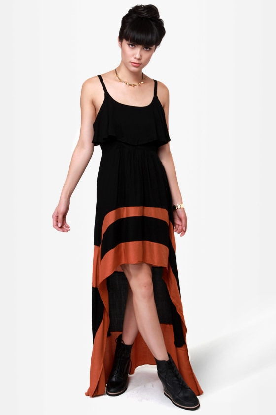 Merrily Rolling Along High Low Black Dress