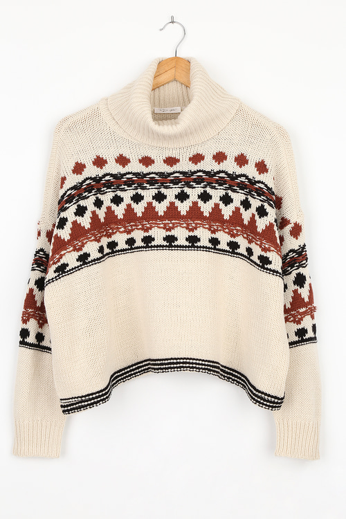 RD Style Early Hours Beige Multi Print Knit Sweater