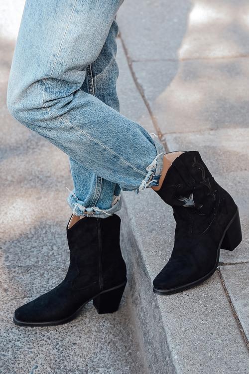 Corrine Suede Square Toe Mid-Calf Boots
