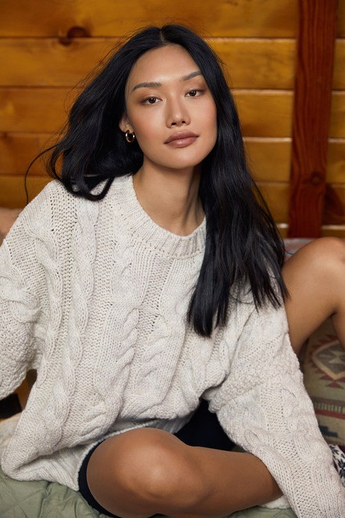 All The Cozy Mornings Beige Cable Knit Oversized Sweater