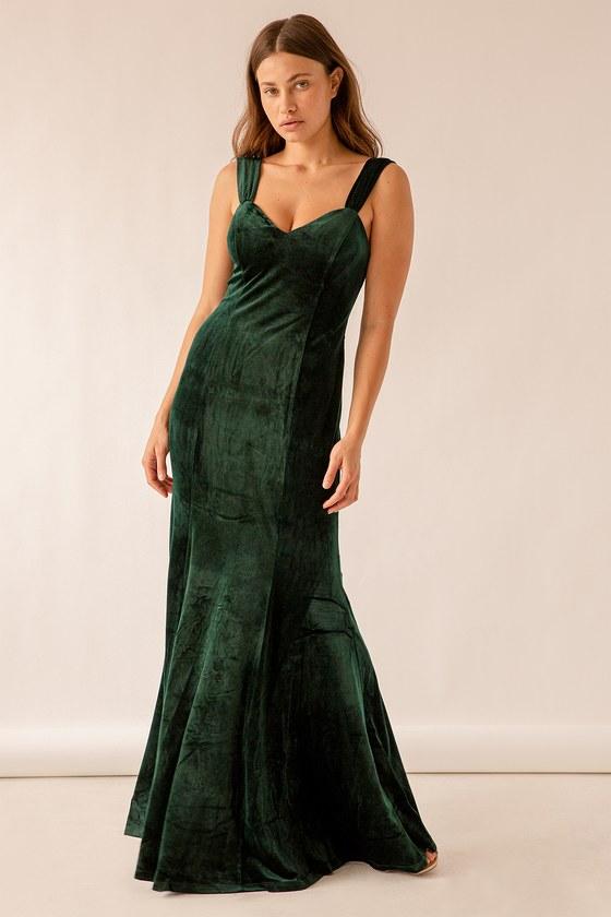 Remember the Night Emerald Green Velvet Maxi Dress