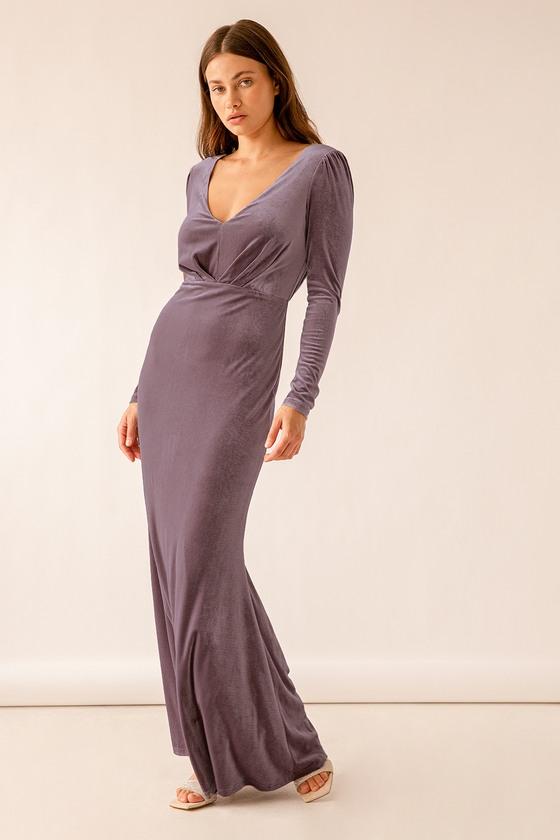 Velvet Maxi Dress Purple Velvet Dress Long Sleeve Dress Lulus