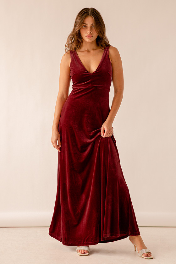 Vintage Prom Dresses, Homecoming Dress So Much Magic Berry Red Velvet Maxi Dress  Lulus $79.00 AT vintagedancer.com