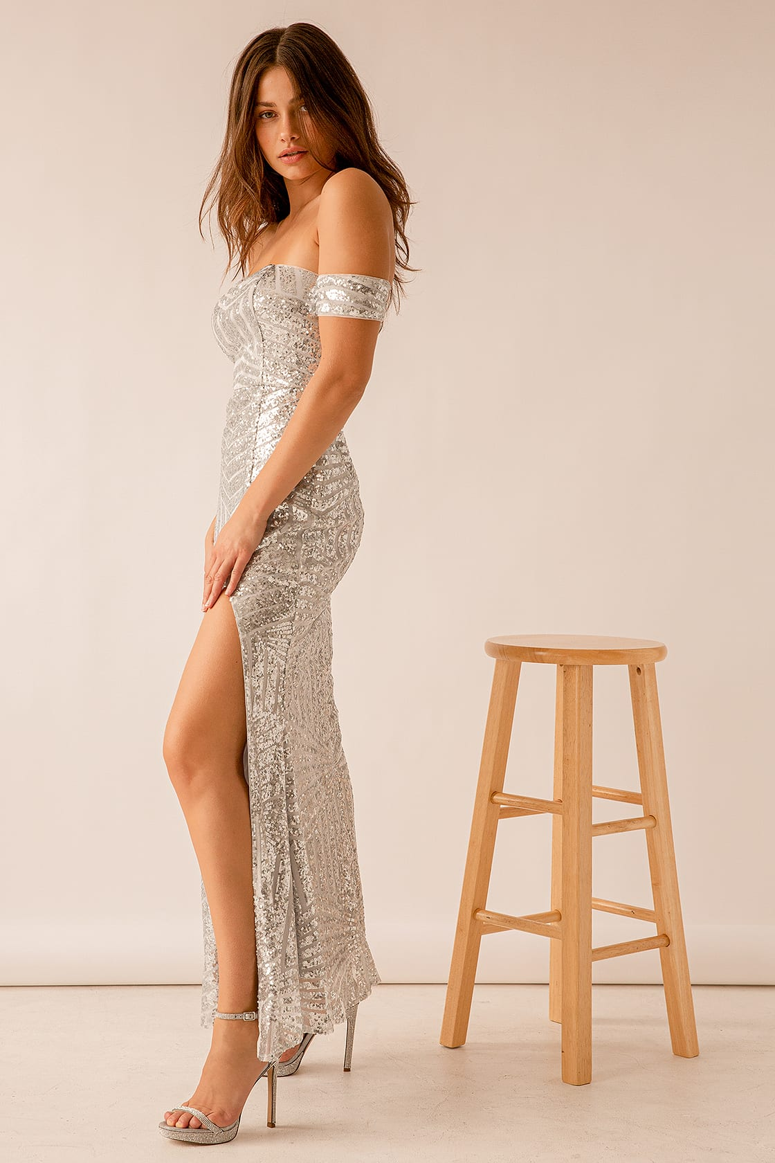 You and Me Silver Sequin Off-the-Shoulder Mermaid Maxi Dress