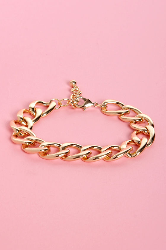 A Chain Would Do You Good Shiny Gold Bracelet at Lulus.com!
