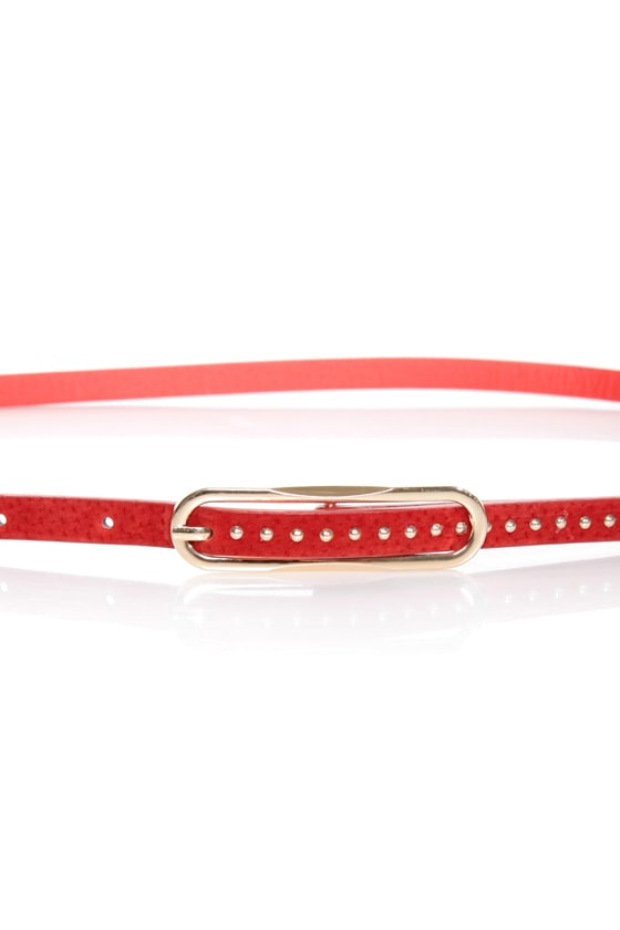 Lots of Dots Studded Red Skinny Belt