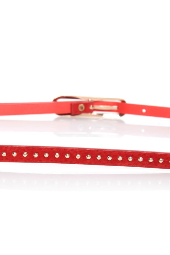 Lots of Dots Studded Red Skinny Belt at Lulus.com!